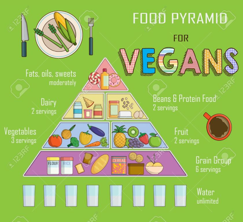 Infographic chart, illustration of a food pyramid for vegetarian nutrition. Shows healthy food balance for successful growth, education and progress.
